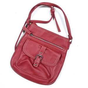 Avon Bonded Pebbled Leather Red Crossbody Purse